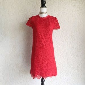 Red Lace Short Sleeve Dress